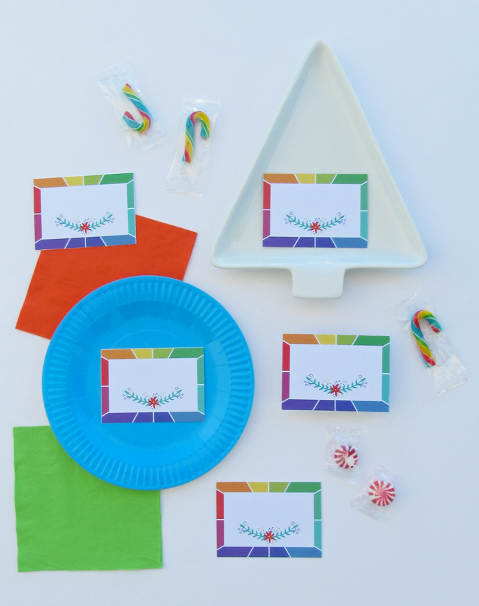 Free printable color wheel inspired place cards, entertaining, table setting, holiday decor