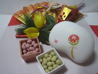 季節の豆箱とお正月の飾り扇子