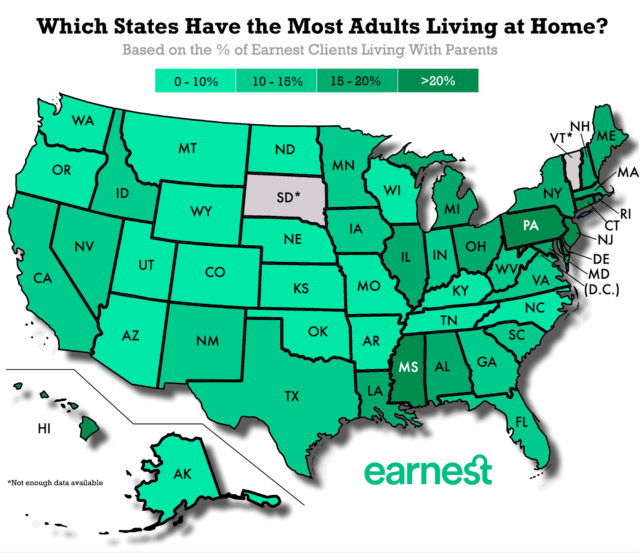 Which US states have the most adults living at home