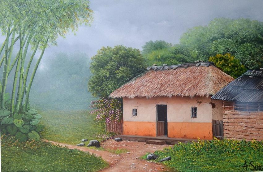 El arte es su máxima expresión : Pinturas colombianas al oleo de paisajes  campestres