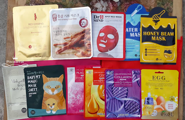 My Beauty Red Ginseng Gold Hydorgel, Missha Red Ginseng, Dr. Mind Apot Red, W. Lab Water and Honey Beam, Holika Holika Makgeolli and Baby Pet Soothing Cat, Lebelage Placenta Q10, Collagen, ekel Egg.