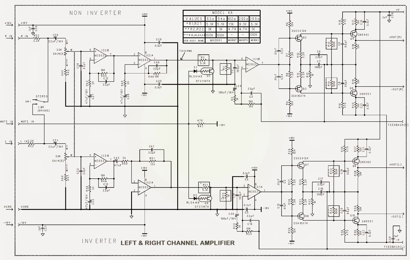 the amplifier circuit is a dualsided surfacemount pcb