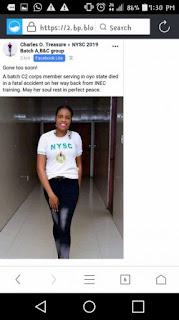 Corps member dies while returning from INEC training
