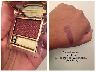 Estee Lauder Pure Color Gelee Powder Eyeshadow in Cyber Ruby swatch on dark skin