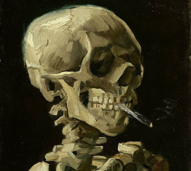 skull of a skeleton with burning cigarette vincent van gogh