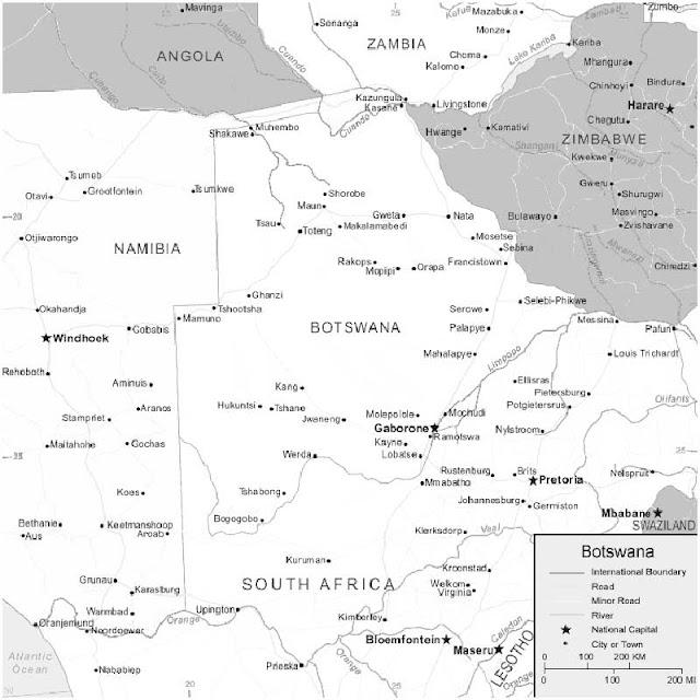 image: Black and white Botswana Map