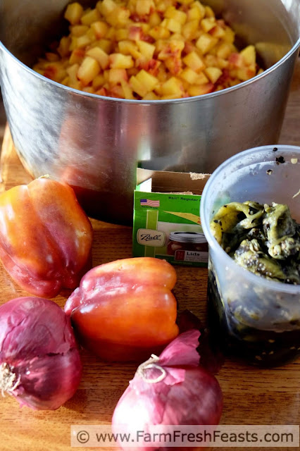 the ingredients needed to make peach salsa with golden plums and roasted Hatch chiles