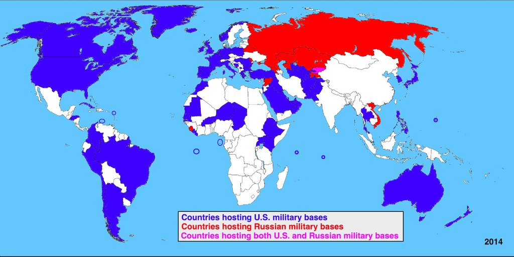 Countries with US vs Russian military bases worldwide