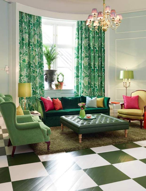 A Sitting Room Styled With Pleasing Palm Prints Curtains,wall Papers And  Nature Inspired Cushion Covers Along With Beautiful Pieces Of Furniture  Enhances ...