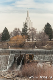 Cramer Imaging's raw example photograph of the Idaho Falls temple and waterfall landscape in Bonneville, Idaho