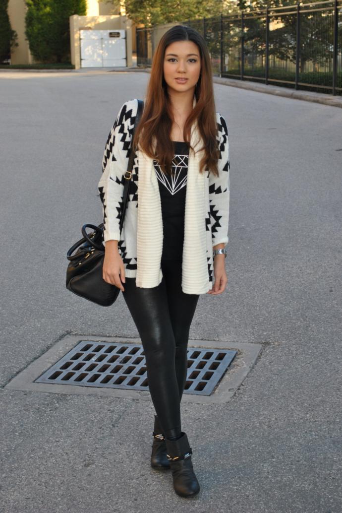 Raspberry Jam Outfit 124 - Aztec Kimono Cardigan in White and Black