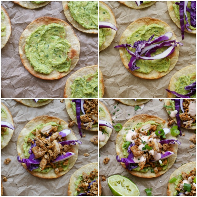Tuna Tostadas with Chipotle Crema are full of bold flavor, made by topping crisp baked tortillas with seasoned tuna, creamy avocado, fresh red cabbage, and a spicy chipotle crema.