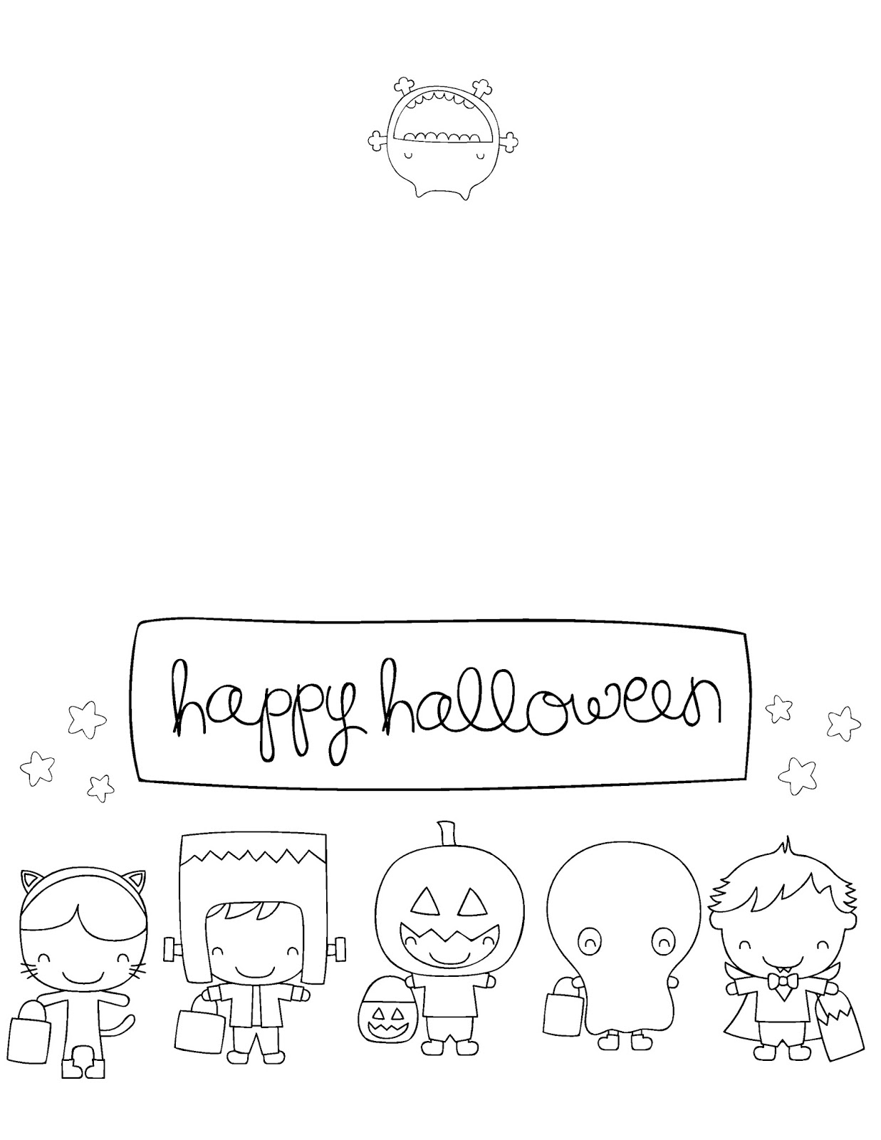 Clean image within printable halloween card