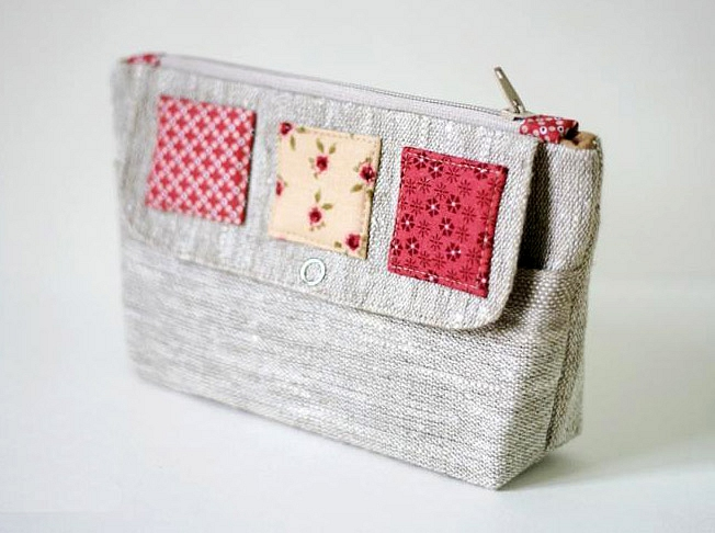 Cosmetic Bag Of Linen With Two Compartments Diy Tutorial In Pictures