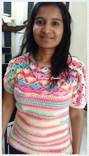 free crochet pattern, free ladies top crochet pattern, ICE Batik yarn