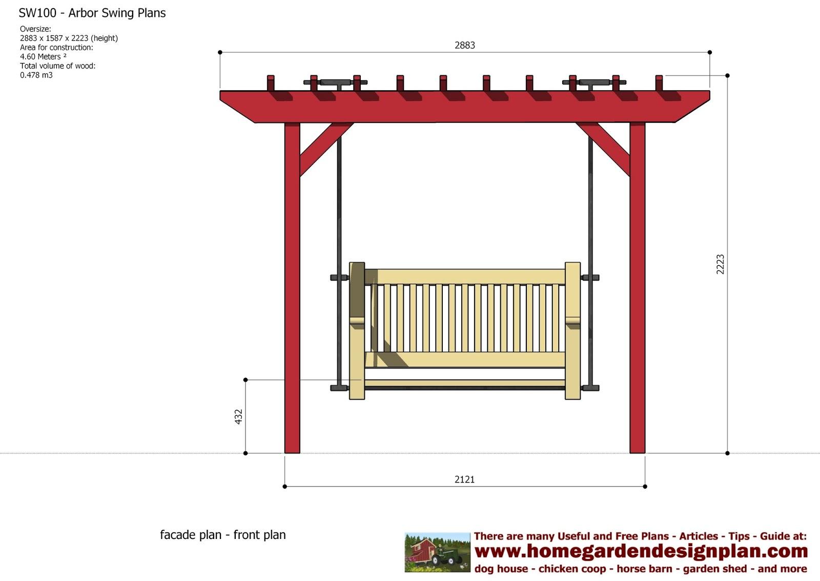 home garden plans SW100 Arbor Swing Plans Swing Woodworking – Garden Swing Plans