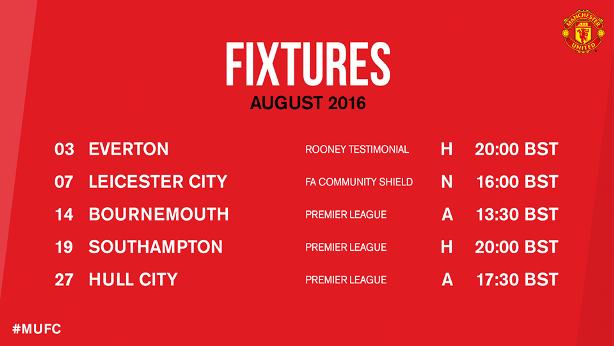 Jadwal Manchester United Agustus 2016