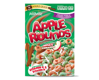 A stock image of Millville Apple Rounds Cereal, from Aldi