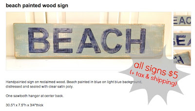 beach painted wood sign