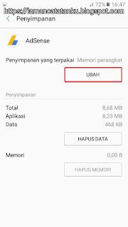 data penyimpanan aplikasi adsense