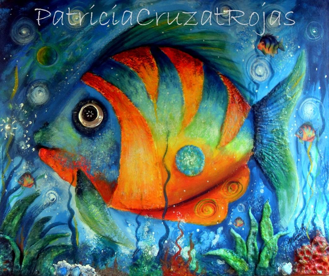 Patricia cruzat rojas pez naranja otra vez - Cuadros con peces ...