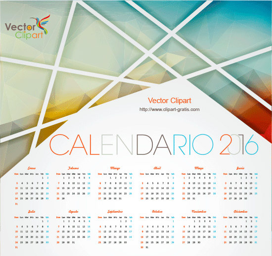 calendario 2016 abstracto en español editable