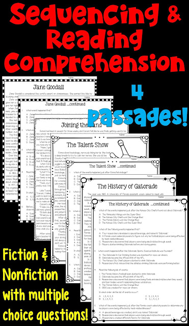 Sequencing and Reading Comprehension- this packet of worksheets is designed for upper elementary test prep.