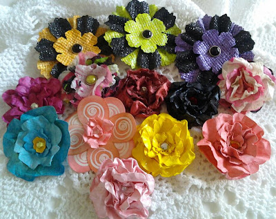 handmade paper flowers dyed scrapbook mini albums art journals ink