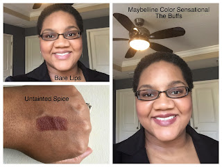 Maybelline Color Sensational The Buffs Lipstick Untainted Spice on dark skin