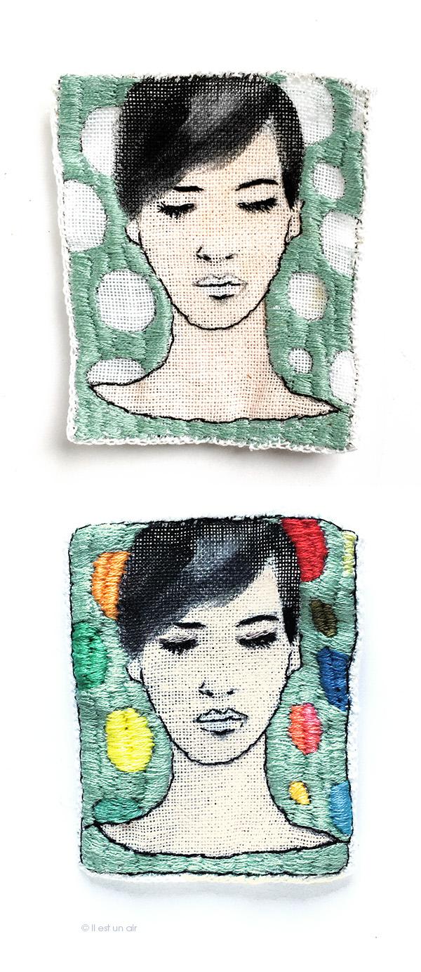 Portrait brodé : avant/après
