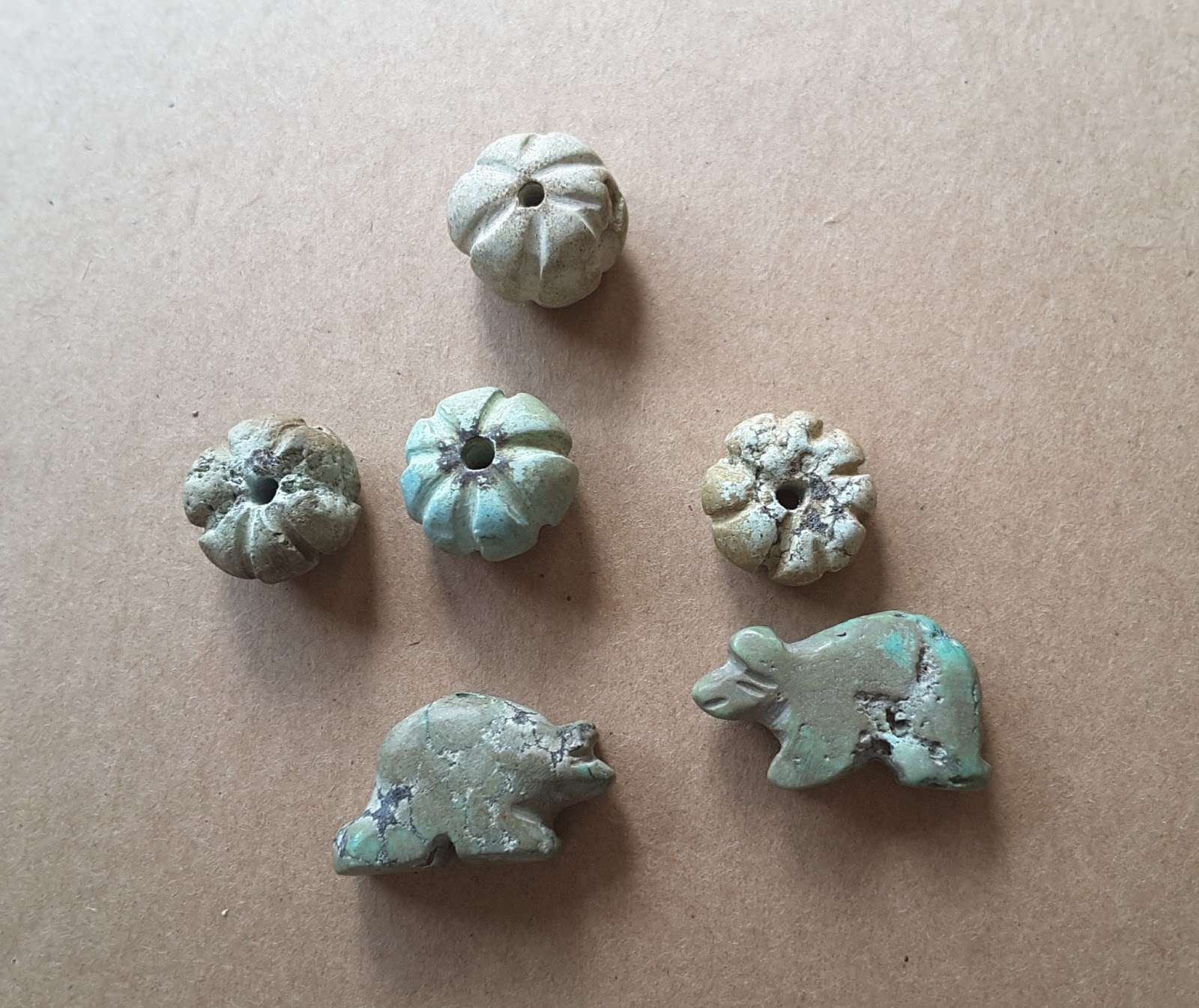 Quietly musing a group of small turquoise animal and for Faience turquoise