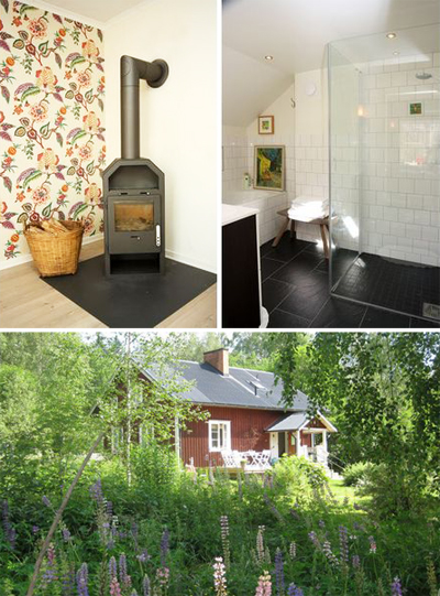 vacation house, sweden, authentic, woods, lake, rental home