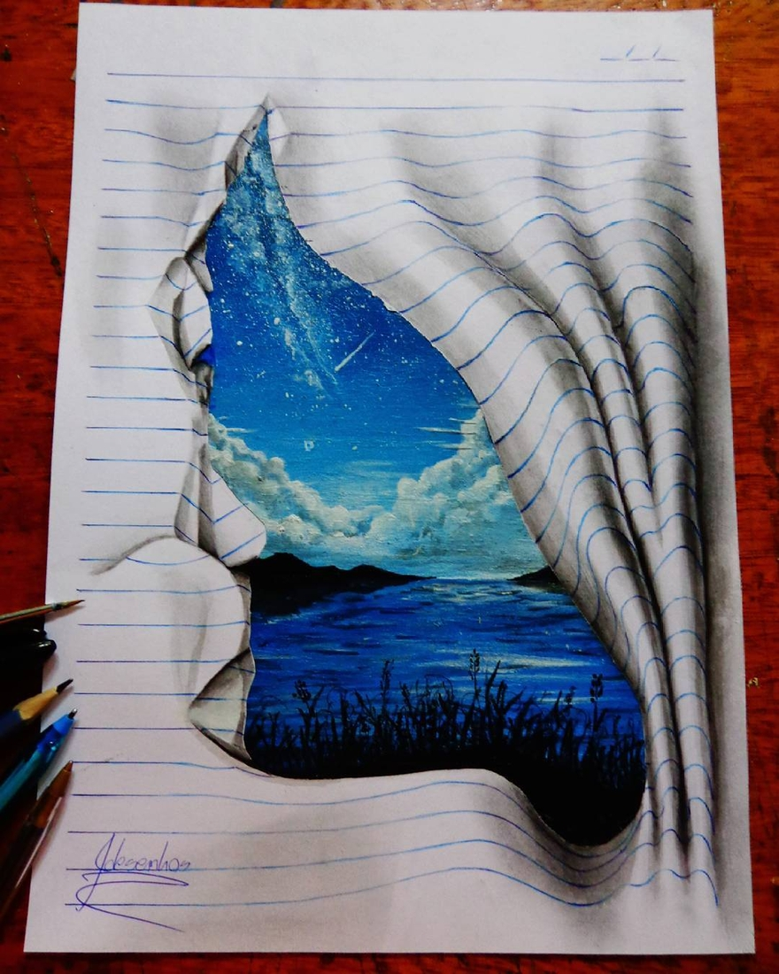 14-The-Lake-and-the-Stars-João-A-Carvalho-Drawing-and-Painting-3D-Optical-Illusions-see-the-Video-www-designstack-co