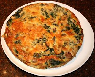 recept; recepten; hoofdgerecht; hoofdgerechten; frittata; omelet; spinazie; champignons; vegetarisch;
