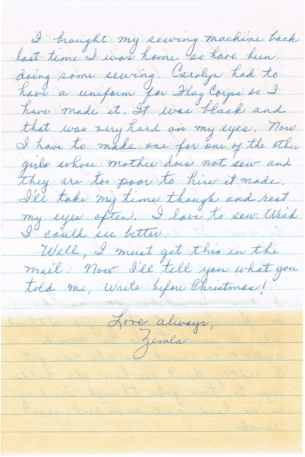 conclusion of letter between friends and former classmates from Fort Meade High School class of 1919