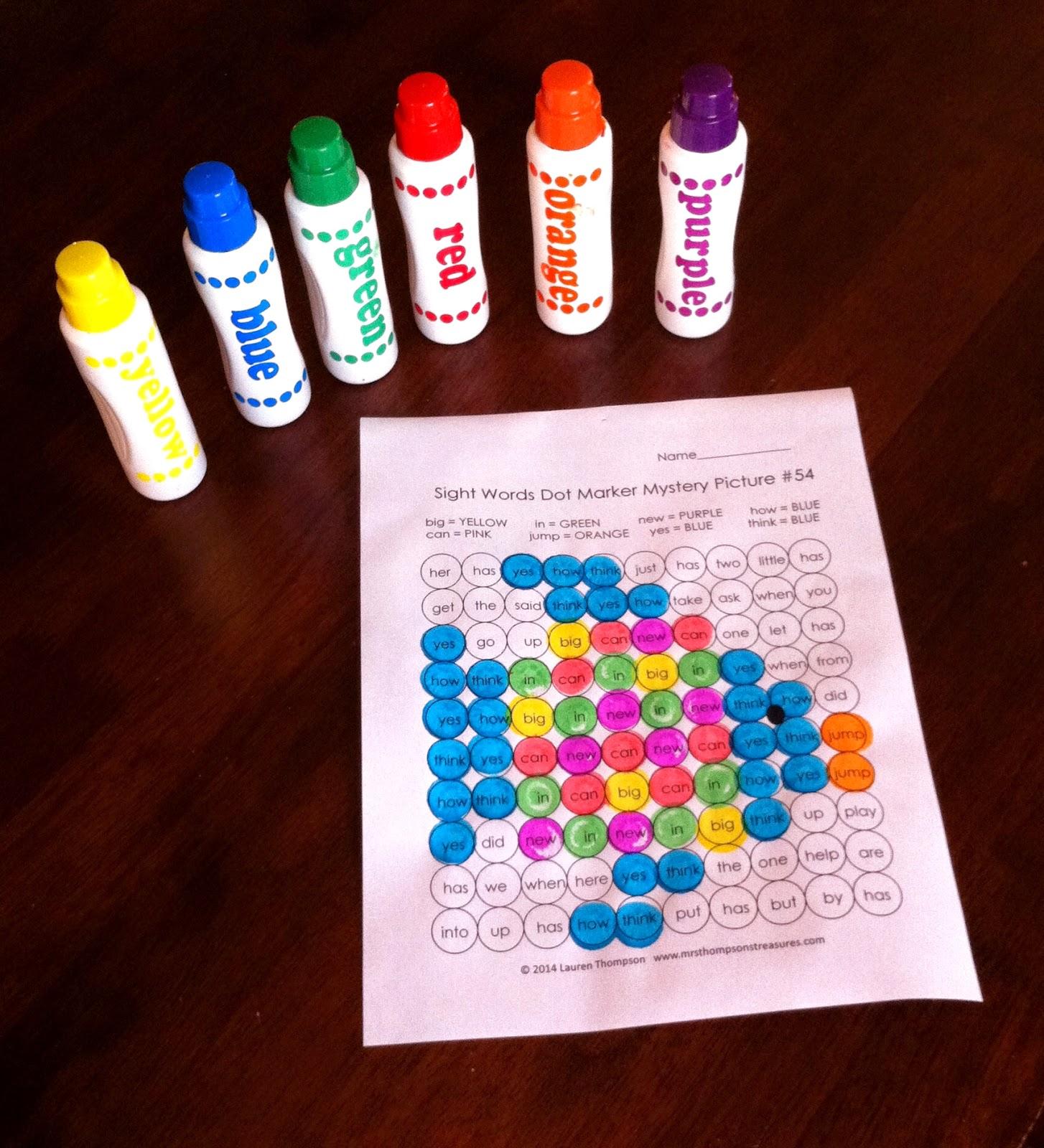 http://www.teacherspayteachers.com/Product/Dot-Marker-Mystery-Picture-Activities-SIGHT-WORDS-Bundle-1450868