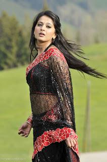 Anushka Shetty in Transparent Black Saree