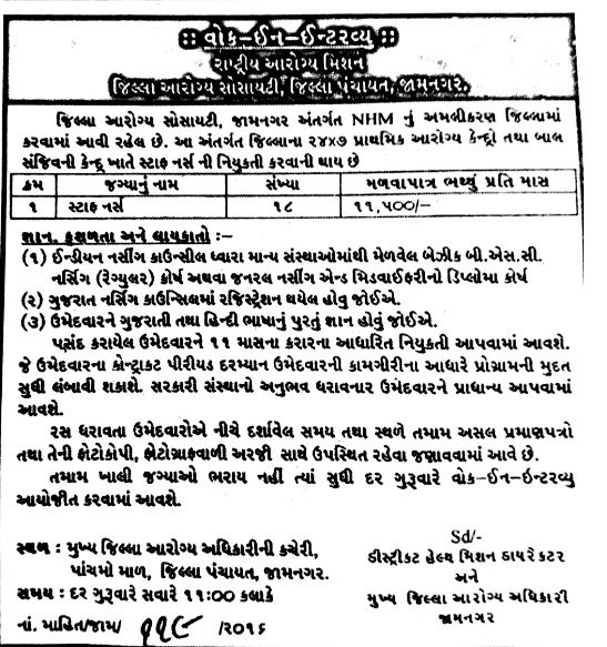 District Health Society, Jamnagar Recruitment for Staff