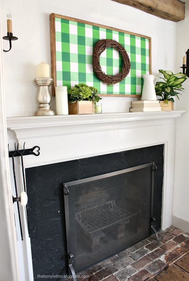 green gingham spring decor