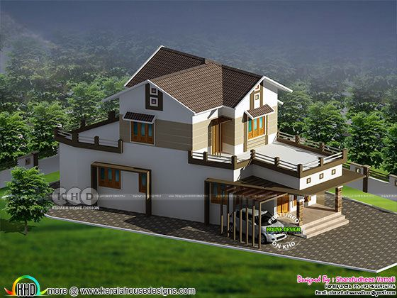 1435 square feet 3 bedroom modern home plan