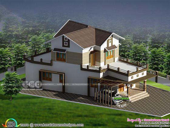 1435 square feet 3 bedroom modern home plan