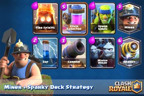 strategi Deck Sparky dan Miner Clash Royale Arena 6 7 8 9
