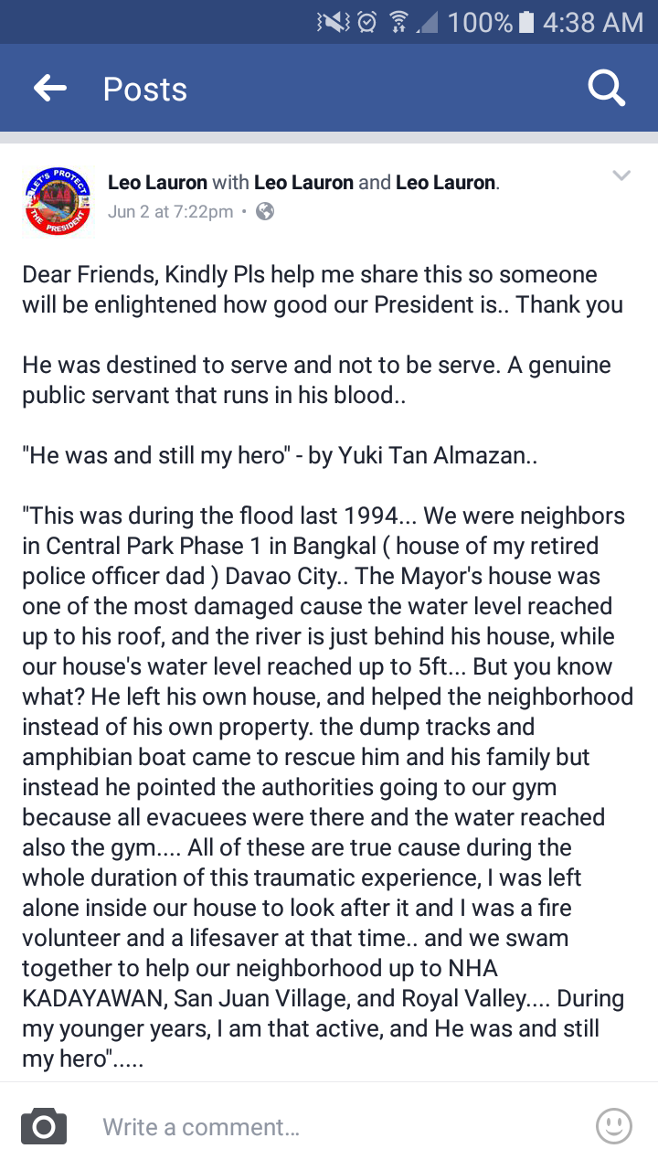 "Mindanaoan recalls President Duterte's act of heroism: ""He was and still my hero"""