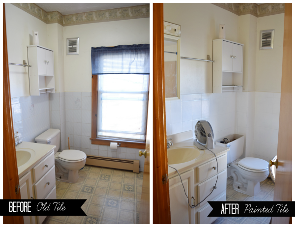 Painted Ceramic Tile: Before and After