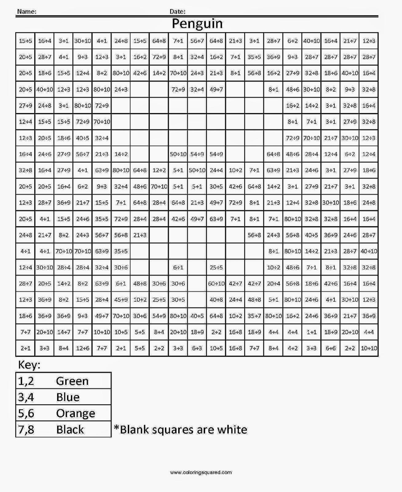 Division Coloring Sheet