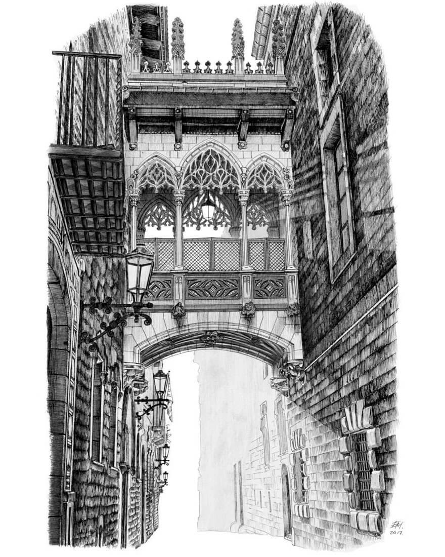 01-Passage-way-Elizabeth-Detailed-Pencil-Architectural-Drawings-www-designstack-co
