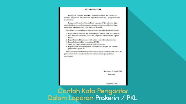 Contoh Kata Pengantar Dalam Laporan Prakerin / PKL