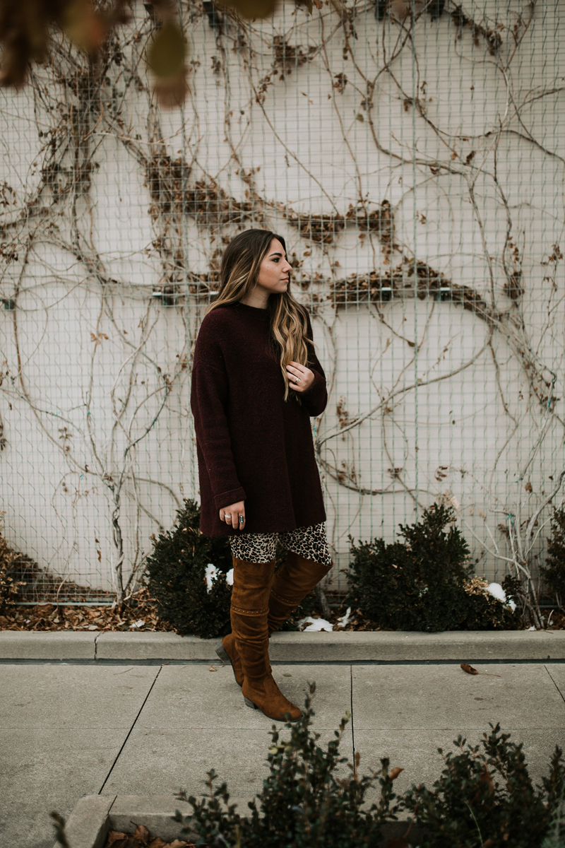 brown boots, red sweater, turquoise jewelry
