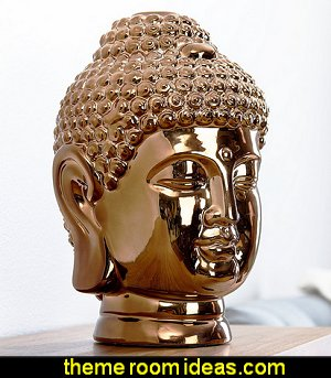 Ceramic Gold Chrome Buddha Head Statue