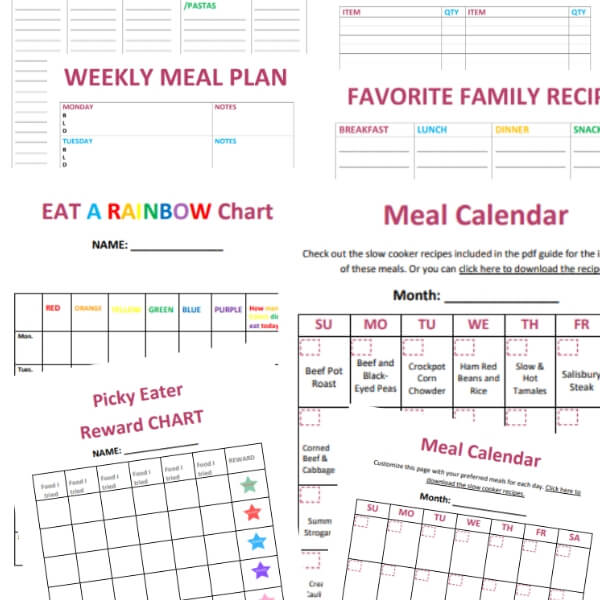 Meal planning templates and printables